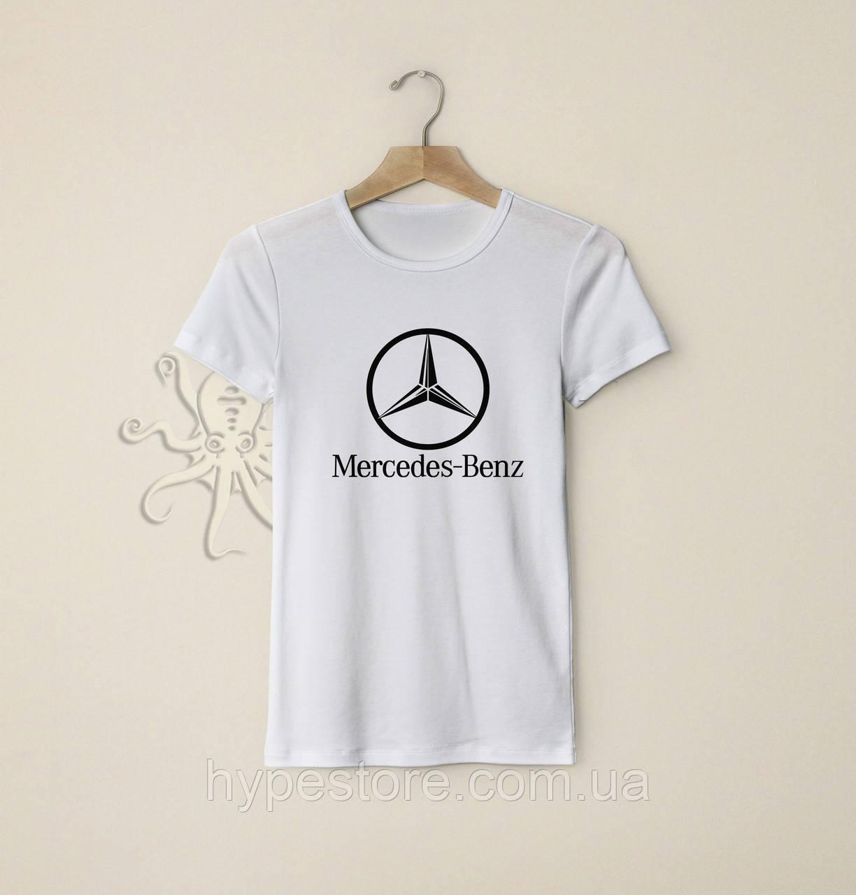 Мужская белая футболка, чоловіча футболка Mercedes-Benz, Реплика