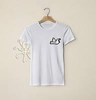 Мужская белая футболка, чоловіча футболка Peaceful Hooligan (маленький лого), Реплика