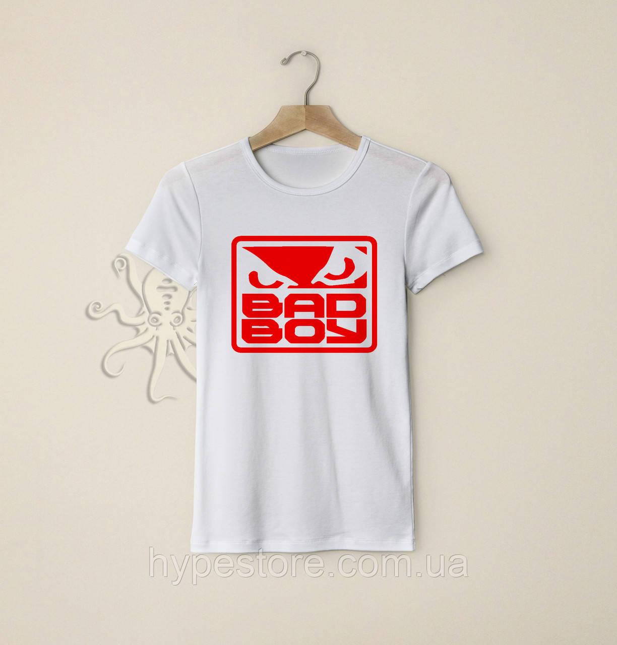 Мужская белая футболка, чоловіча футболка Bad Boy (красный лого), Реплика