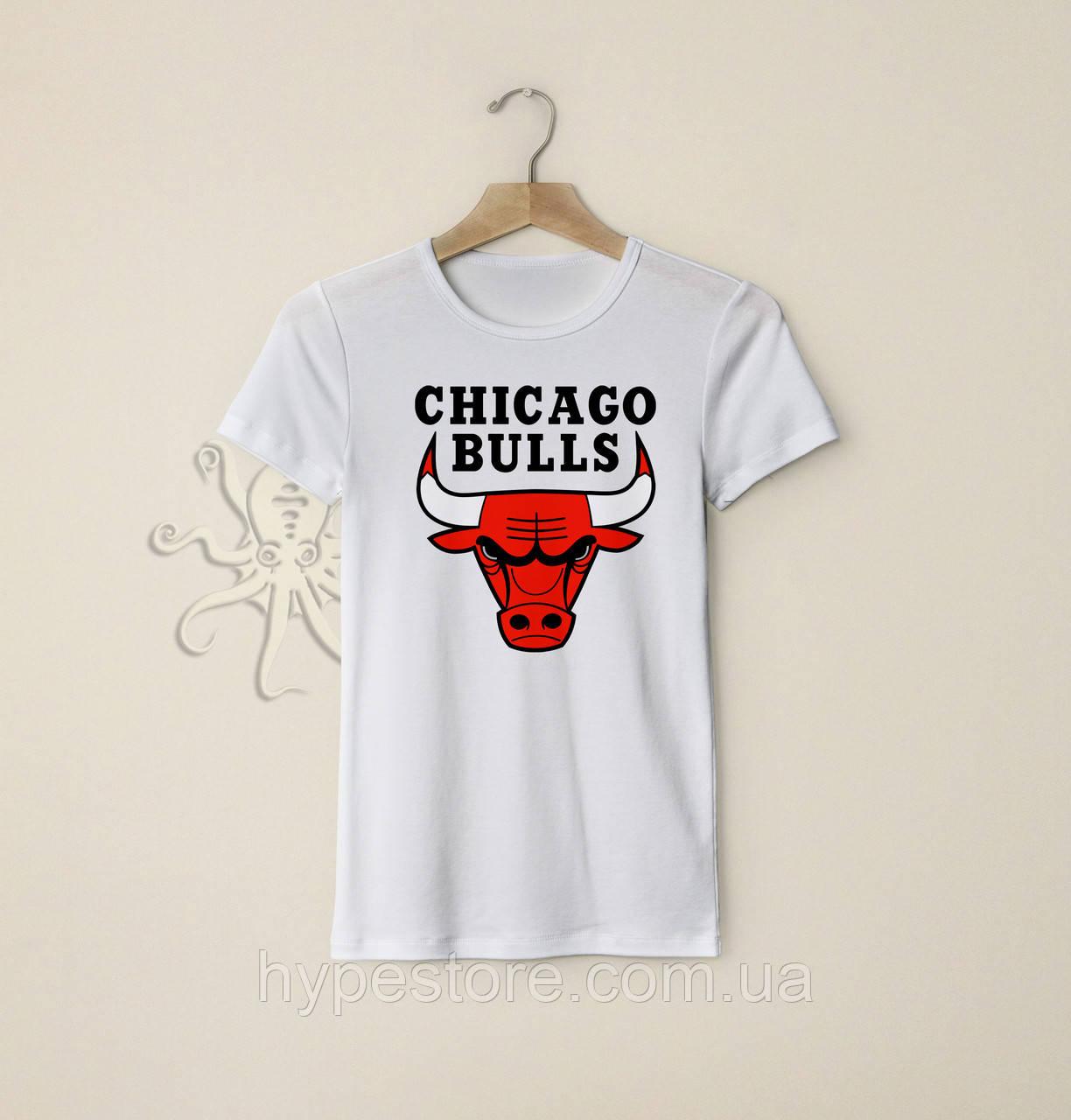 Мужская белая футболка, чоловіча футболка Chicago Bulls, Реплика
