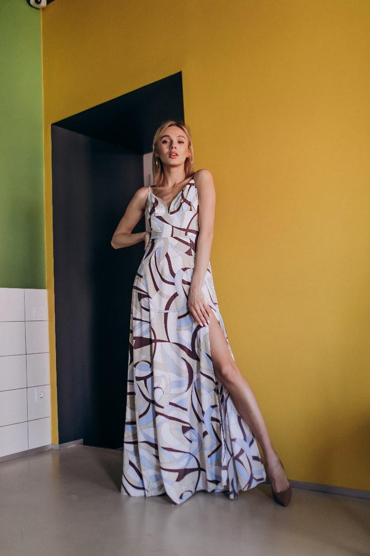 36d1ca81d4c Шелковое длинное платье с разрезом и на бретельках 20ty2621 - Cardy интернет  магазин одежды в Харькове