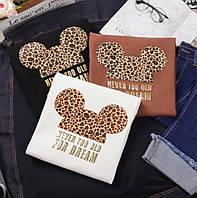 Женская футболка с леопардовой накаткой Микки 68ut197