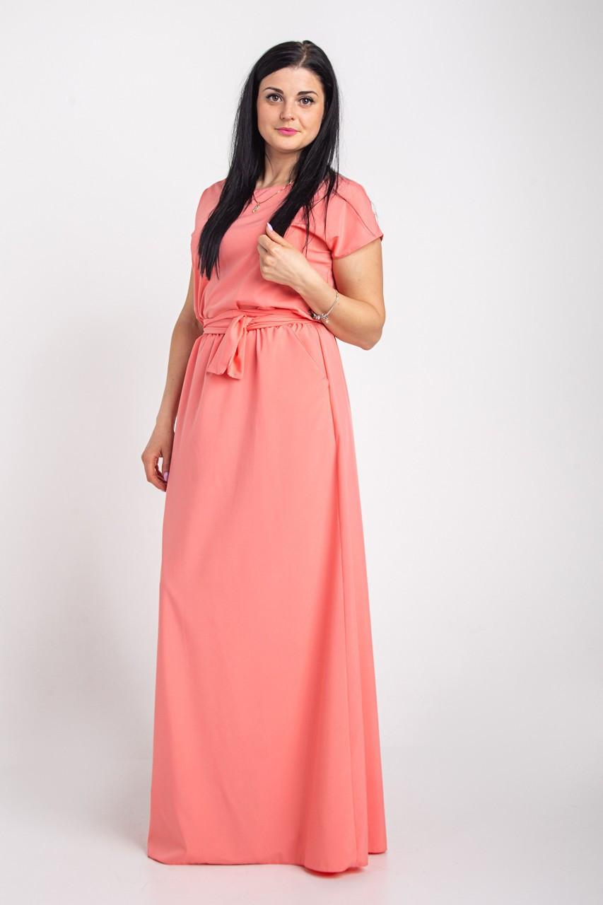 Однотонное длинное платье в пол размеры 44-64р