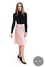 Женская юбка бархат плиссе гофре пудра по колено, фото 2