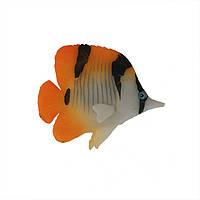 Декор для аквариума флуоресцентная рыбка Butterflyfish orange 9,5 см