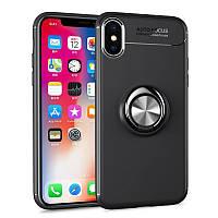 Чехол TPU Ring для Iphone X бампер оригинальный black с кольцом