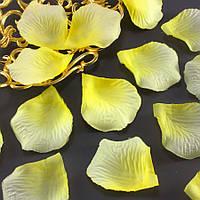 (≈140шт) Лепестки роз, искусственные Цена за упаковку Цвет - жёлто-лимонный, фото 1