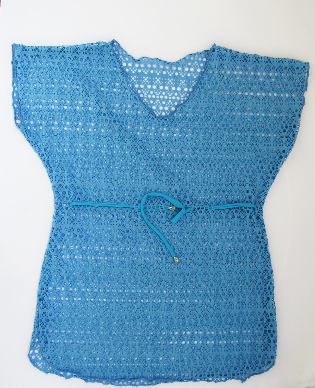 Детская пляжная накидка туника для девочек Голубой