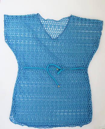 Детская пляжная накидка туника для девочек Голубой, фото 2