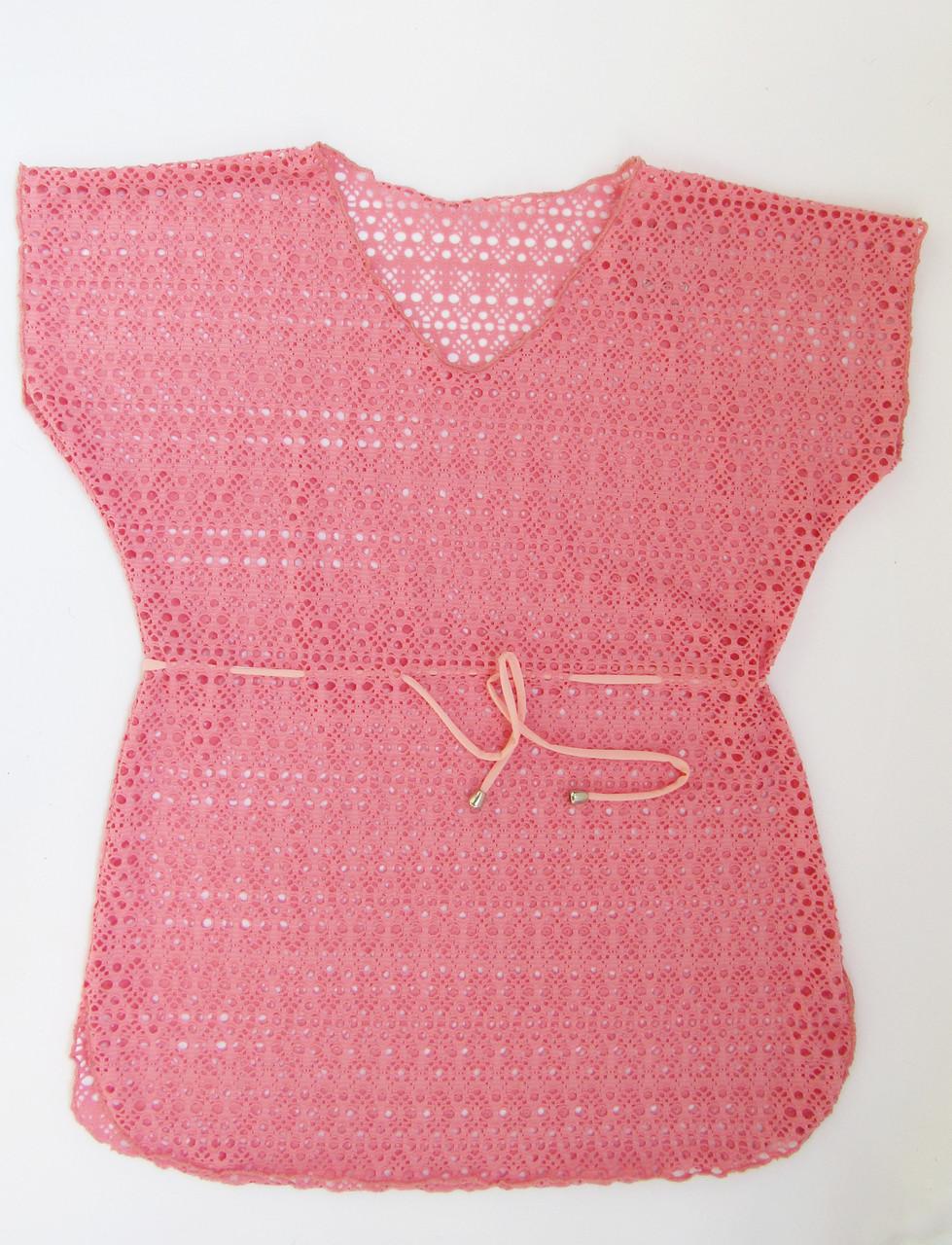 Детская пляжная накидка туника  для девочек Розовый