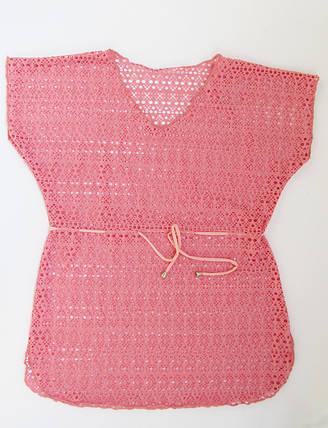 Детская пляжная накидка туника  для девочек Розовый, фото 2