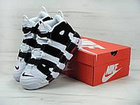 5f71deb77 Кроссовки мужские Nike Air More Uptempo в стиле Найк Аир Аптемпо, белые с  черным
