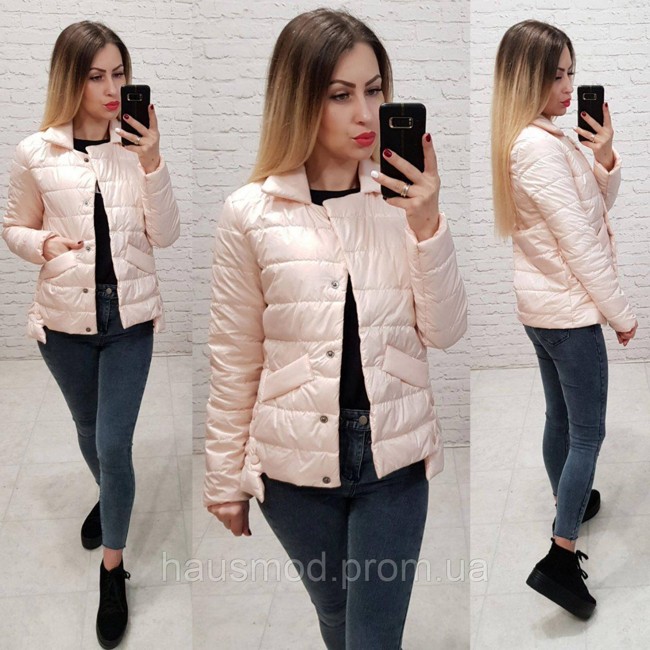 Женская куртка весна на кнопках ткань плащевка на синтепоне цвет бежевый