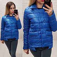 Женская куртка весна на кнопках ткань плащевка на синтепоне цвет синий, фото 1