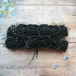 Розы из фоамирана с фатином .Цвет-черный,диаметр 20 мм.(цена за пучок 12 шт)