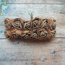 Розы из фоамирана с фатином .Цвет-коричневый,диаметр 20 мм.(цена за пучок 12 шт)