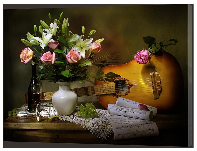 Картина Interno Холст Розы и гитара 120х92см (R2008XL)