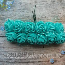 Розы из фоамирана с фатином .Цвет-бирюзовый,диаметр 20 мм.(цена за пучок 12 шт)