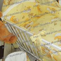 Бортики (35 см) со съёмными чехлами (на молнии) на  все стороны детской кровати.