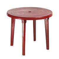 Пластиковий круглий стіл, вишневий