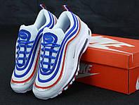 Кроссовки мужские Nike Air Max 97 в стиле Найк Аир Макс 97, белые с синие