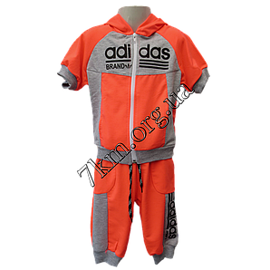 """Детский спортивный костюм летний (Реплика) """"Adidas"""" для девочек 2-5 лет Коралл трикотаж"""