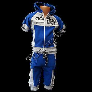 """Детский спортивный костюм летний (Реплика) """"Adidas"""" для мальчиков 5-8лет  Синий трикотаж"""