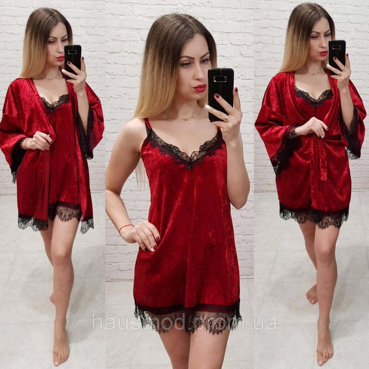 cacdcad38552 Женский комплект велюр ночнушка + халат ткань мраморный велюр французское  кружево цвет красный -