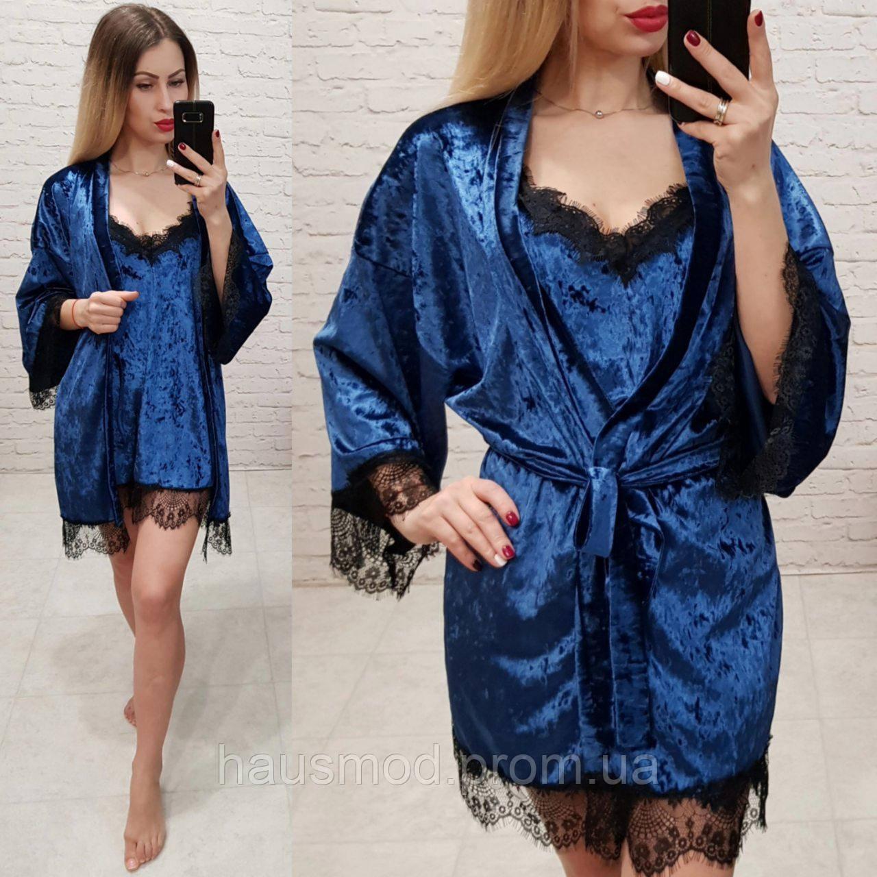 f67e77acfa1e Женский комплект велюр ночнушка + халат ткань мраморный велюр французское  кружево цвет синий -