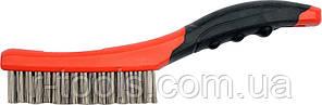 Щетка 4-рядная стальная с пластиковой ручкой 260 мм Yato YT-6338