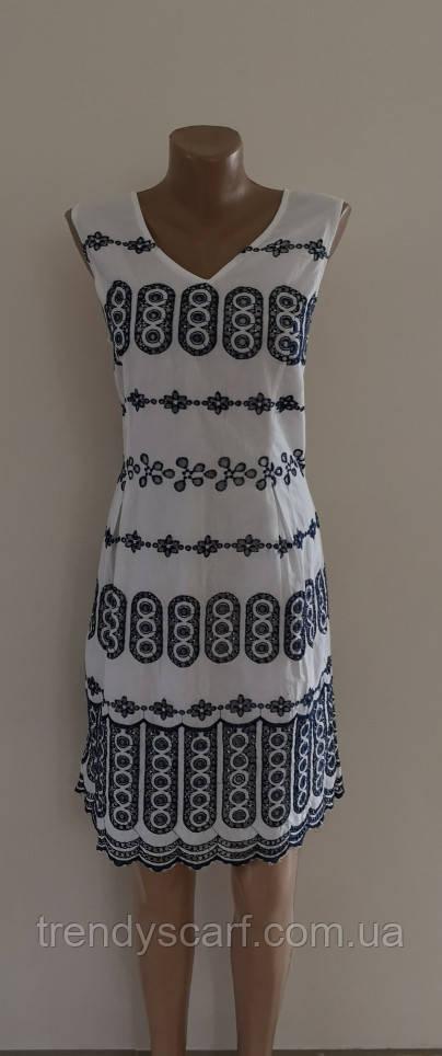 Женское платье сарафан. Белый с синей вышивкой. Хлопок. Индия