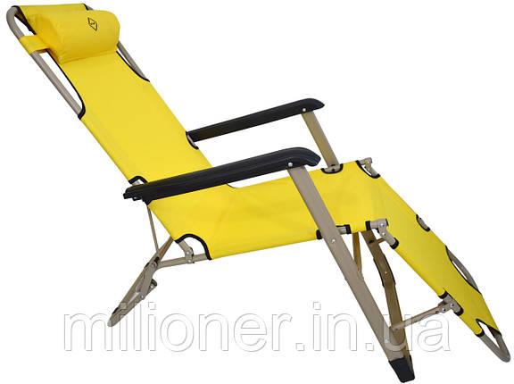 Шезлонг лежак Bonro 180 см желтый, фото 2