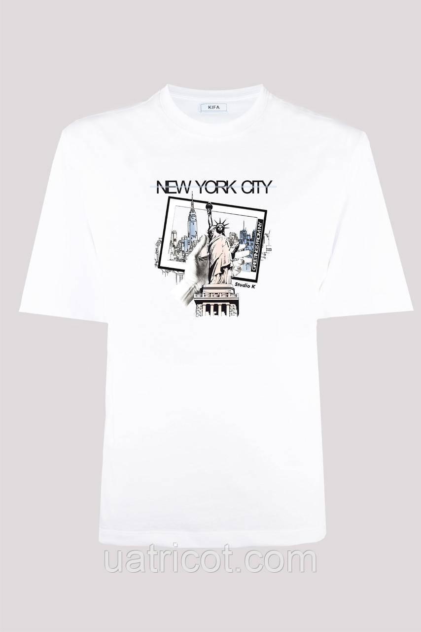 Футболка мужская KIFA ФМХ-019/15 NEW YORK CITY hand белая
