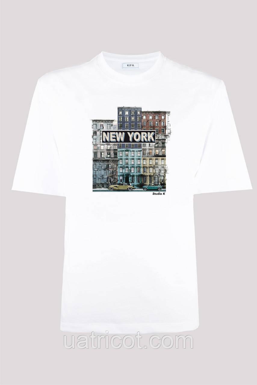 Футболка мужская KIFA ФМХ-019/15 NEW YORK retro белая