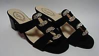 Женские сабо на каблуке черного цвета