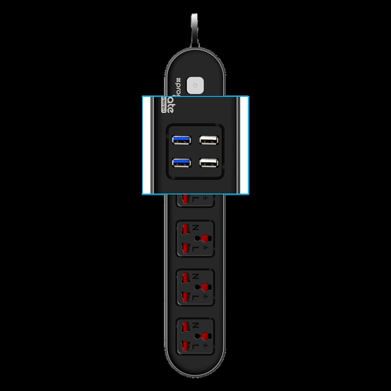 Сетевой фильтр-удлинитель Promate Powerstrip-1 РАСПАК