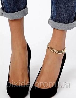 Браслет листочки на ногу золотистый