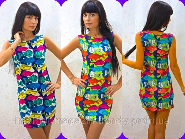 Платье мини летнее в веселой расцветке с рыбками 126