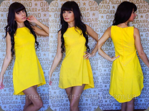 Платье мини летнее ,удлиненное сзади в ярких расцветках 146
