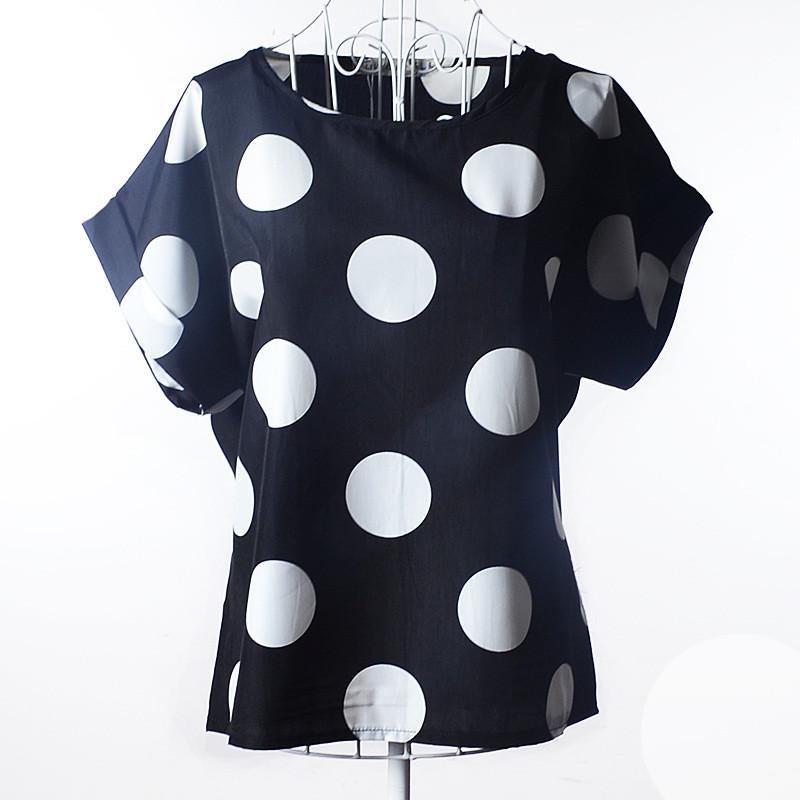 УЦЕНКА! Блузка с коротким рукавом черная в крупный горох Liva Girl р.48-50