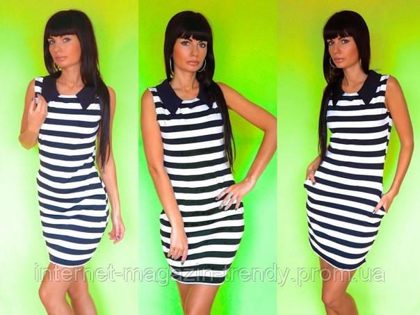 Платье мини летнее в полоску в морском стиле 554