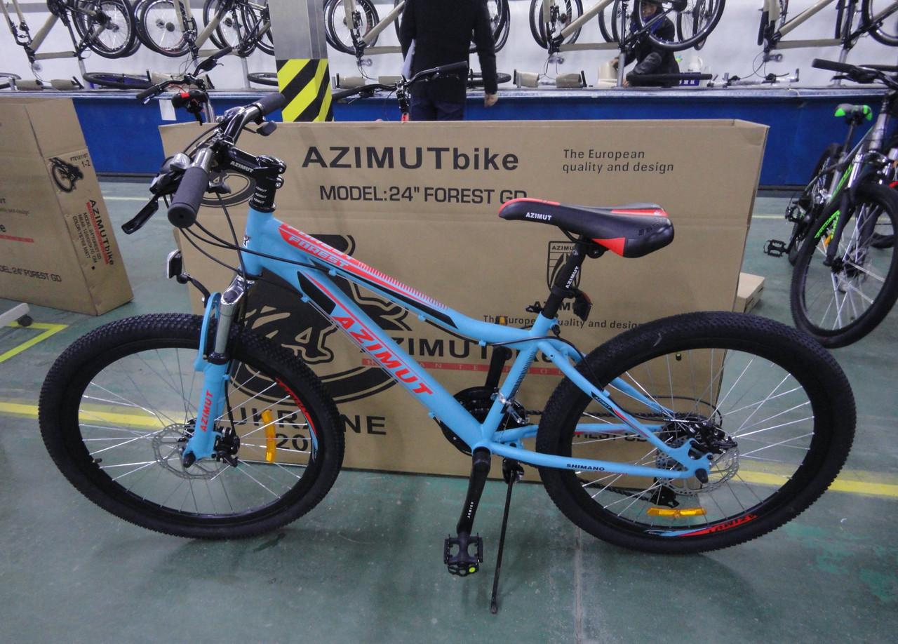 """Велосипед 2-х кол. Azimut Forest G-FR/D 24"""" бирюзовый противоударные обода"""