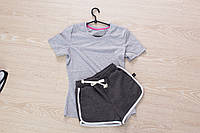 Футболка и шорты (летний костюм), серый