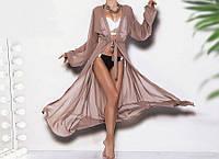 Туника женская пляжная шифоновая с длинным рукавом  шм1023, фото 1