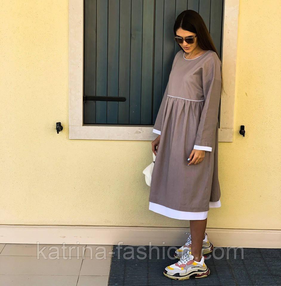 Женское платье лён свободного кроя  (в расцветках)