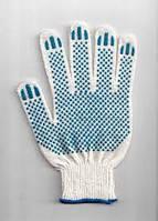 Перчатки белые с зелёным ПВХ