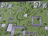 Ковровые изделия Зеленый в серый квадрат 0,8 м
