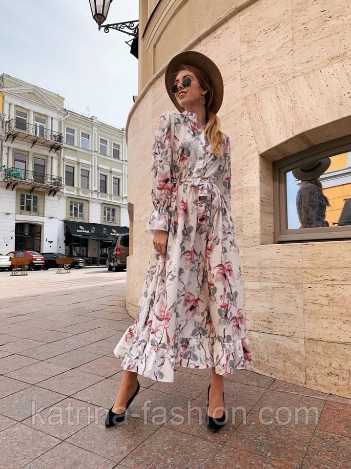 Женское платье-рубашка с цветочный принтом