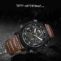 Мужские водонепроницаемые часы Naviforce World NF9160 Brown на кожаном ремешке