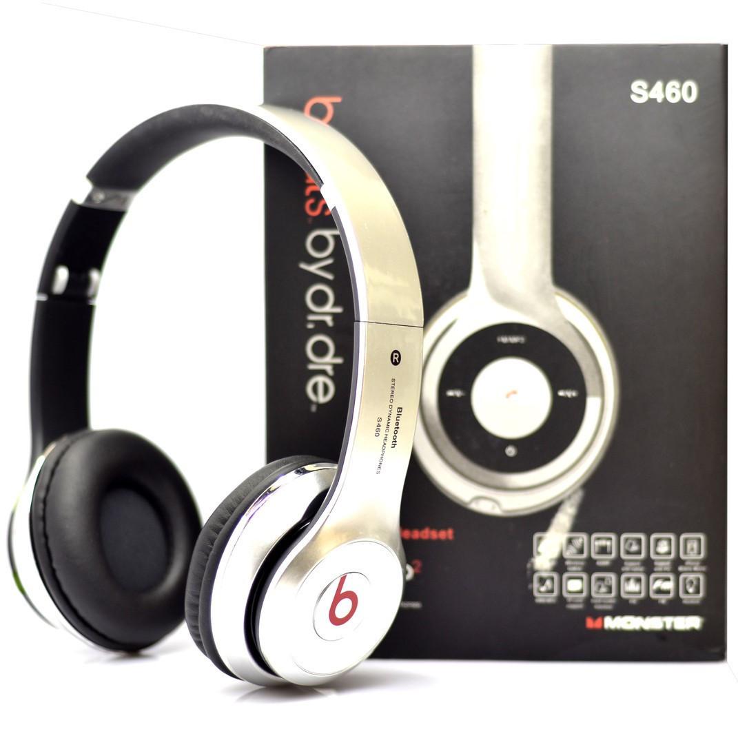 Наушники беспроводныеMonster Beats HD S460 Bluetooth (MP3, FM, AUX, Mic)серебристый(копия Beats)